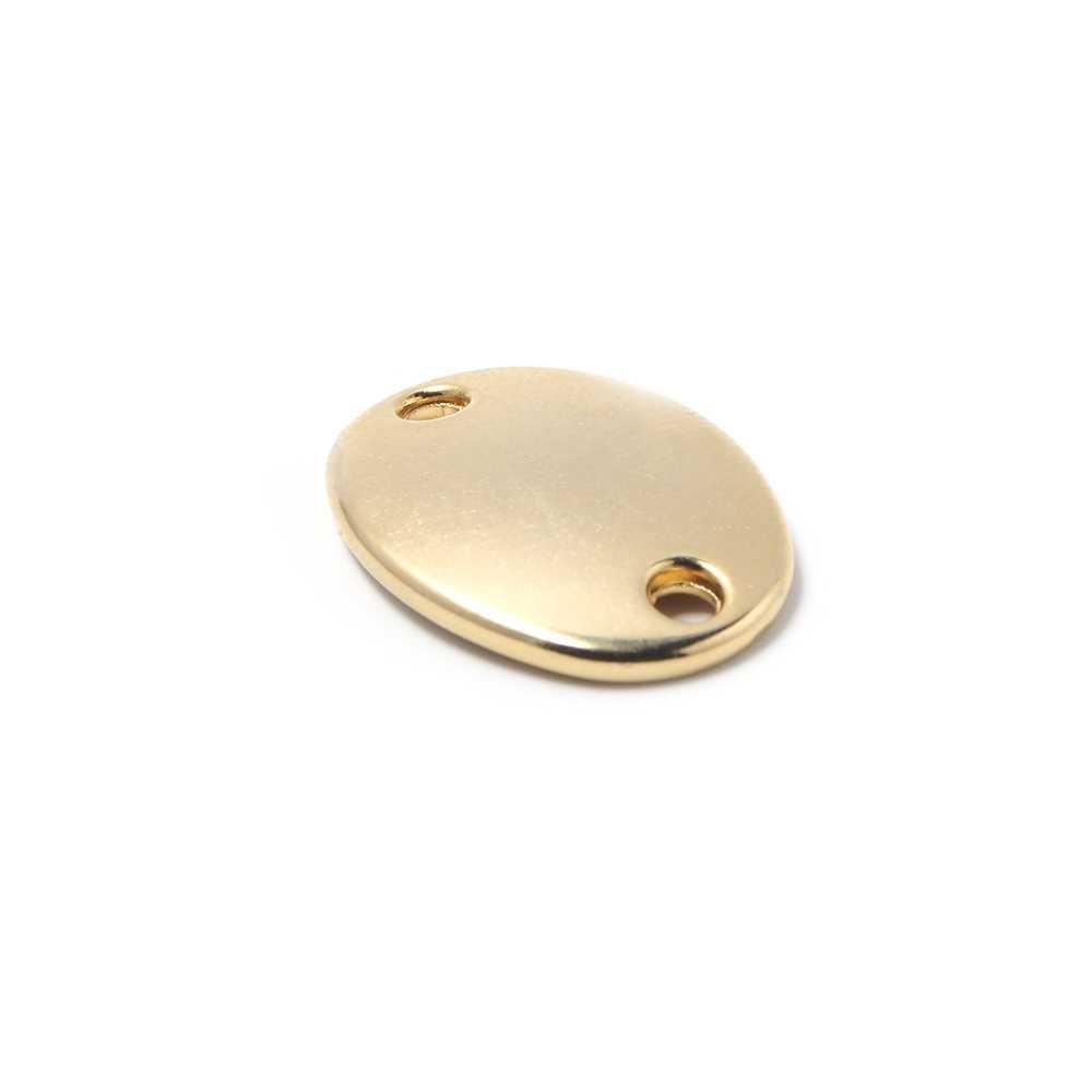 Abalorio Medalla ovalada lisa para grabar, con huecos de 2.5mm. de diámetro. Bañada en oro de 24 quilates.