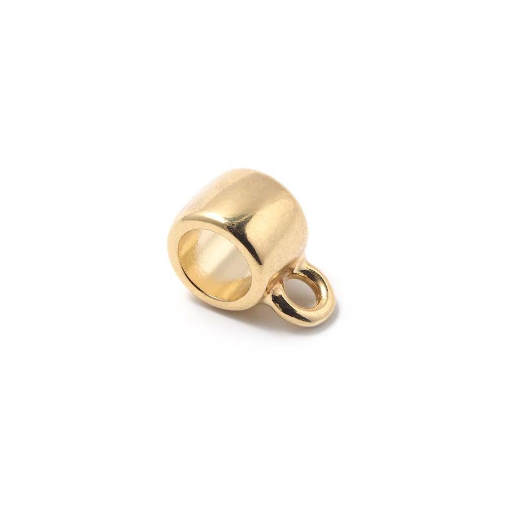 Abalorio Entrepieza redonda con argolla, con hueco para cuero redondo de 5mm. Bañada en oro de 24 quilates.
