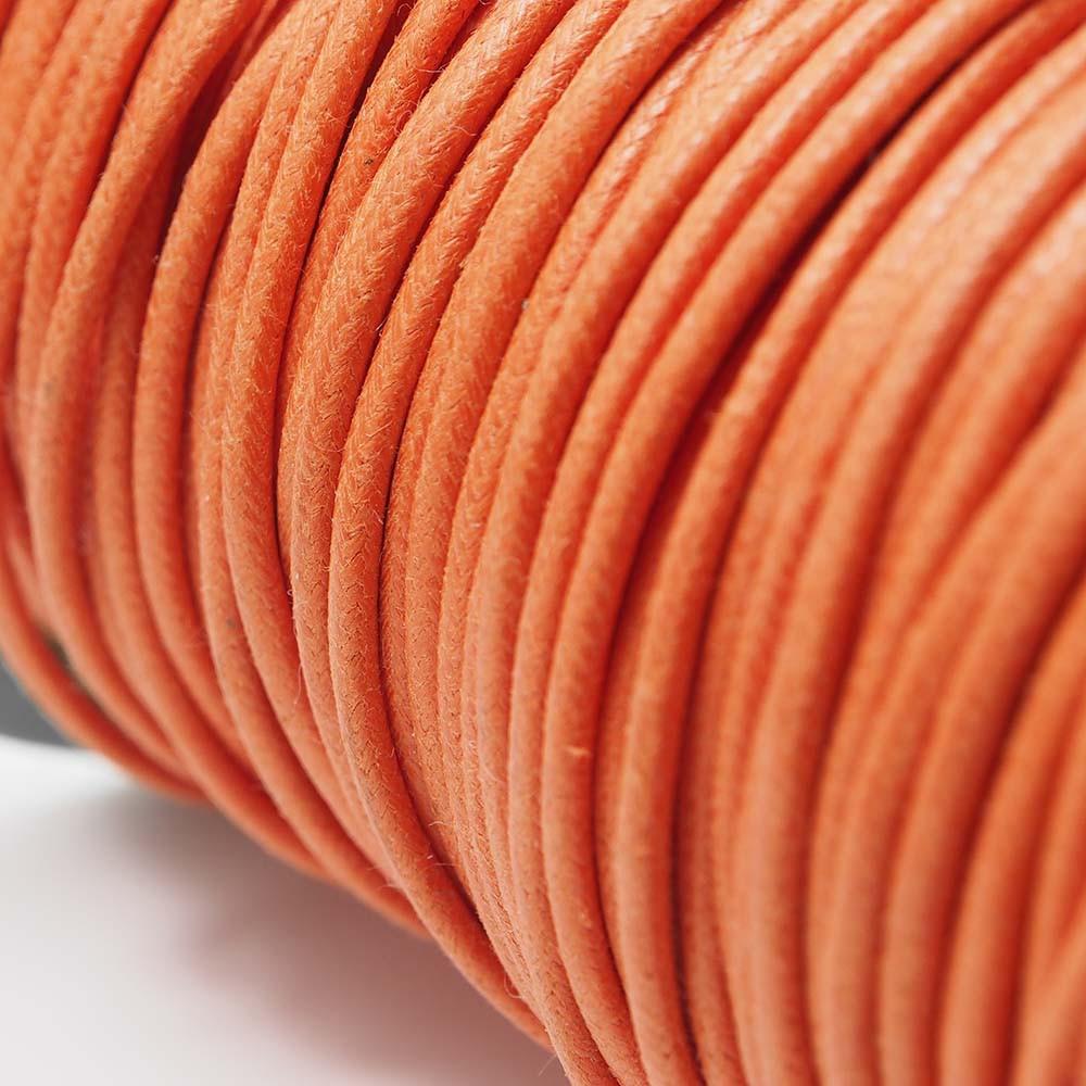Cordón encerado redondo de 2mm de grosor. Color naranja.