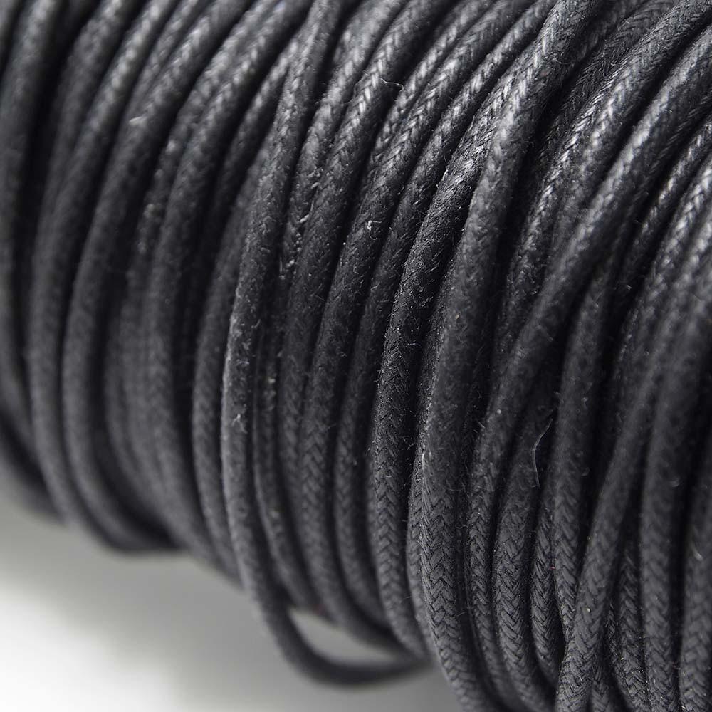 Cordón encerado redondo de 2mm de grosor. Color Negro.