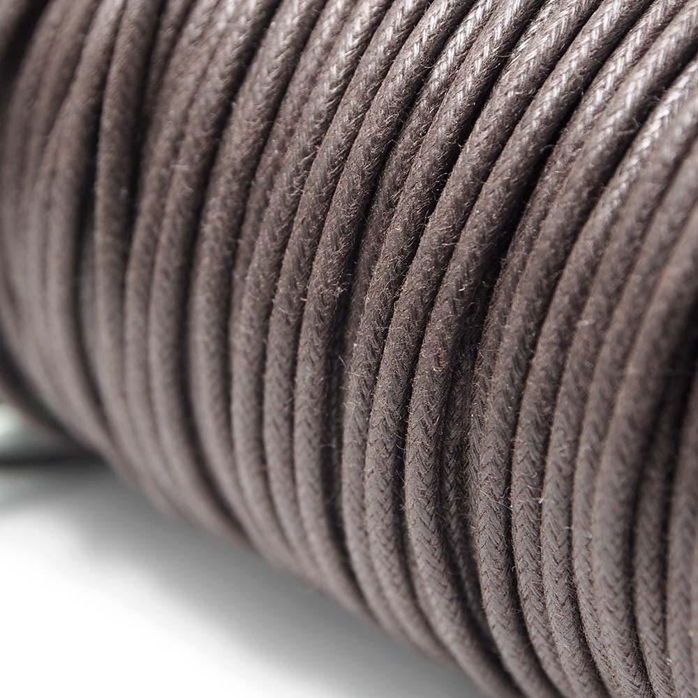 Cordón encerado redondo de 2mm de grosor. Color Chocolate.