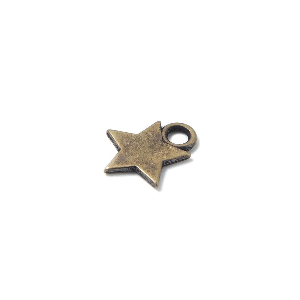 Abalorio colgante estrella, con agujero para anilla de 2 mm. Bañado en oro viejo.