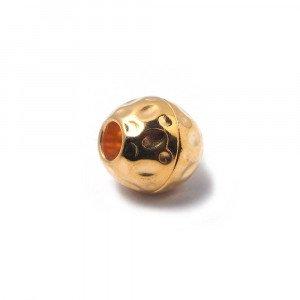 Cierre de imán bañado en oro, bola golpeada, con agujero de 4 mm.