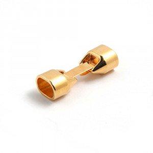 Cierre de fleje grueso, bañado en Oro de 24 quilates, para cuero regaliz.