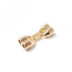 Cierre de fleje de doble agujero, bañado en oro de 24 quilates, con huecos de 4.5mm.