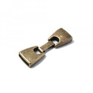 Cierre de fleje, plano grande, bañado en oro envejecido, 12mm x 2.5mm.
