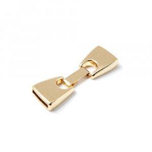 Cierre de fleje, plano grande,  12.5mm x 2.5mm, bañado en oro de 24 quilates.