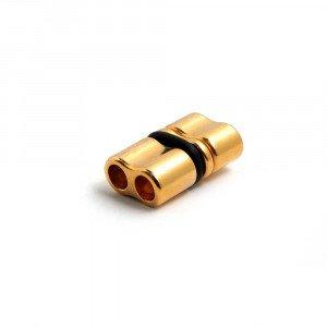 Cierre retén doble agujero, cuero redondo de 5mm, bañado en oro.