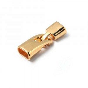 Cierre de arpón irregular, con huecos de 9.5mm x 5.5 mm. Bañado en oro.