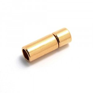 Cierre de presión cilindro, bañado en oro brillante, con hueco para cuero de 5 mm. de diámetro.
