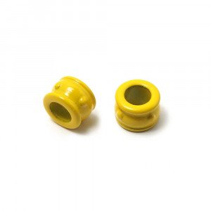 Entrepieza Cupa, para cuero de diámetro 5 mm. Pintada en color amarillo.