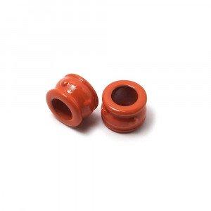 Entrepieza Cupa, para cuero de diámetro 5 mm. Pintada en color coral.