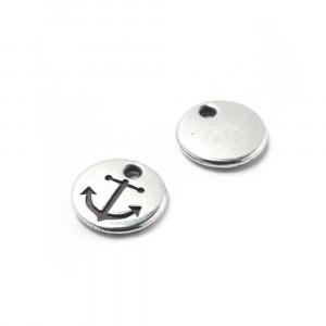Abalorio Medalla Ancla con hueco para anilla de 1.5mm. de diámetro. Bañada en plata de ley oxidada.