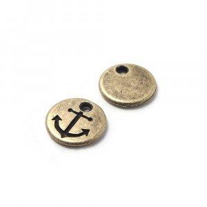 Abalorio Medalla Ancla con hueco para anilla de 1.5mm. de diámetro. Bañada en oro envejecido.