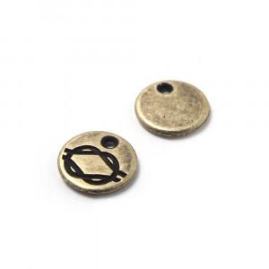 Abalorio Medalla Nudo con hueco para anilla de 1.5mm. de diámetro. Bañada en oro envejecido.