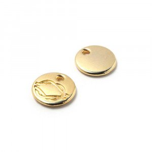 Abalorio Medalla Nudo con hueco para anilla de 1.5mm. de diámetro. Bañada en oro.