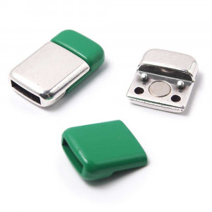 Cierre imán rectangular redondeado acabado en plata de ley oxidada y pintura verde, 9.5mm x 2.5mm.
