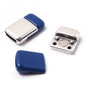 Cierre imán rectangular redondeado acabado en plata de ley oxidada y pintura azul, 9.5mm x 2.5mm.