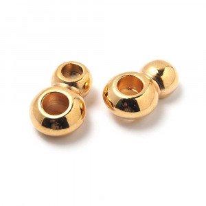 Entrepieza Terminal Dos Vueltas para cuero de 5 mm. de diámetro. Bañada en oro de 24 quilates.