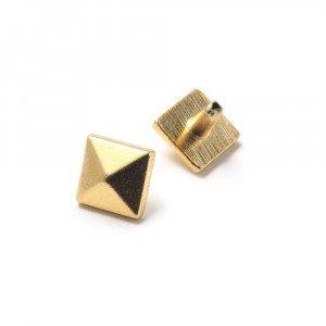 Tachuela Pirámide pequeña con pivote, bañada en Oro de 24 quilates.