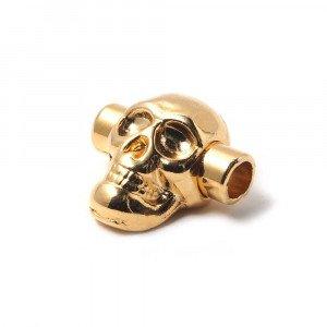 Cierre de presión calavera, para cuero redondo de diámetro 5mm. Bañado oro de 24 quilates.