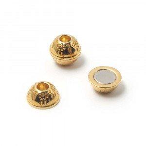 Cierre de imán bañado en oro de 24 quilates, bola con filigrana, agujero de 5mm.