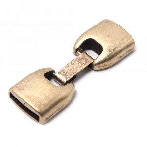 Cierre de fleje redondeado grande, bañado en oro envejecido, con huecos para cuero de 13mm x 2.5mm.