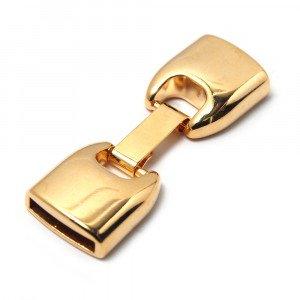 Cierre de fleje redondeado grande, bañado en oro de 24 quilates, con huecos para cuero de 13mm x 2.5mm.