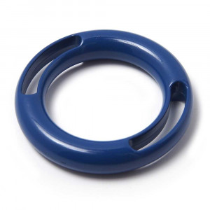 Anilla dos ranuras, pintada en color azul, con pase interior de 30 mm.