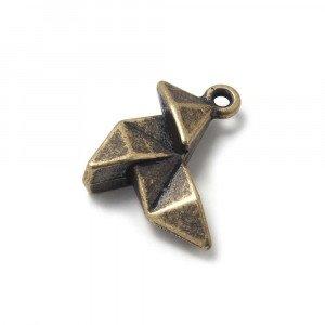 Abalorio Colgante Pajarita Origami, con agujero para anilla de 2 mm. Bañado en Oro envejecido.