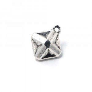 Abalorio Colgante Estrella Origami, con agujero para anilla de 2 mm. Bañado en plata de ley oxidada.