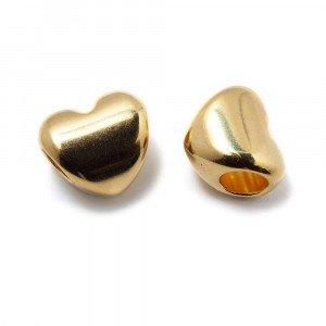 Entrepieza Bola Corazón, para cuero de diámetro 5 mm. Bañada en Oro de 24 quilates.