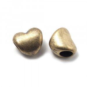 Entrepieza Bola Corazón, para cuero de diámetro 5 mm. Bañada en Oro envejecido.