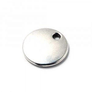 Abalorio Medalla redonda lisa para grabar de 22mm de diametro, con hueco de 3mm. de diámetro. Bañada en plata de ley oxidada.