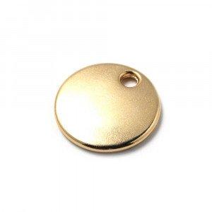 Abalorio Medalla redonda lisa para grabar de 22mm de diametro, con hueco de 3mm. de diámetro. Bañada en oro de 24 quilates.
