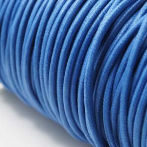 Cordón encerado redondo de 2mm de grosor. Color Azul Eléctrico.