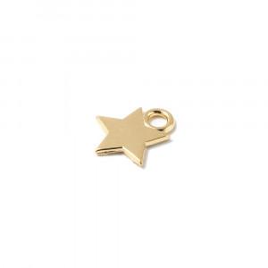 Abalorio colgante estrella, con agujero para anilla de 2 mm. Bañado en oro de 24 quilates.