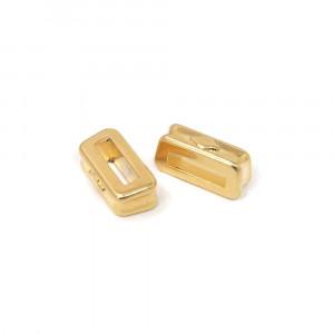 Entrepieza montera, con hueco para cuero pasante de 9mm x 2.5mm. Bañada en oro de 24 quilates.