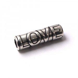 Entrepieza Tubo Love, para cuero de diámetro 5 mm. Bañada en plata de ley oxidada.