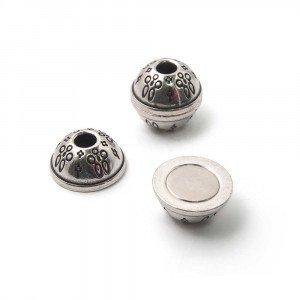 Cierre imán bola filigrana, agujero 4mm, plata óxido.