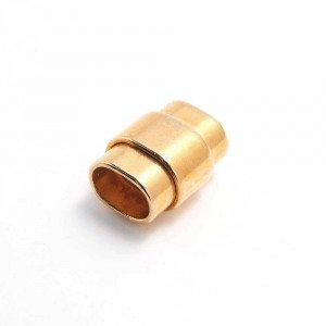 Cierre imán rectangular ovalado, regaliz, oro.