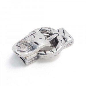 Cierre imán correa golpeada, 12.5x2.5mm, plata óxido.