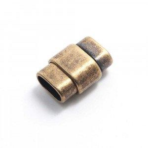 Cierre imán rectangular ovalado, 10x4.5mm, oro viejo.