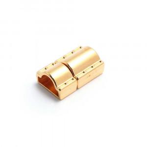 Cierre presión puntadas, media caña tubo, oro.