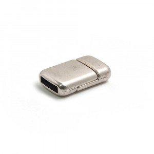 Cierre imán rectangular redondeado, 9.5x2.5mm, plata óxido.
