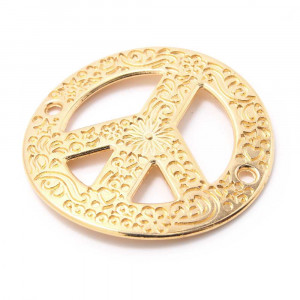 Pieza paz calada cóncava, anilla 2mm, oro.