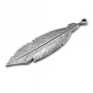Pieza Pluma Grande, anilla 2mm, plata óxido.