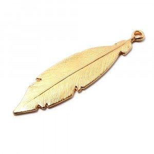 Pieza Pluma Grande, anilla 2mm, oro.