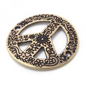 Pieza paz calada cóncava, anilla 2mm, oro viejo.