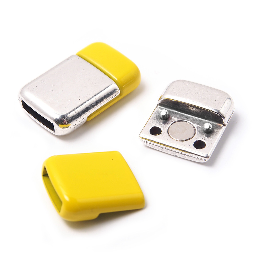 Cierre imán rectangular redondeado, 9.5x2.5mm, plata óxido/amarillo.